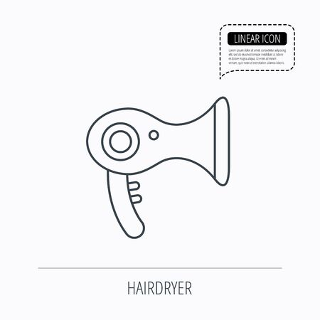 air diffuser: Hairdryer icon. Electronic blowdryer sign. Hairdresser equipment symbol. Linear outline icon. Speech bubble of dotted line. Vector