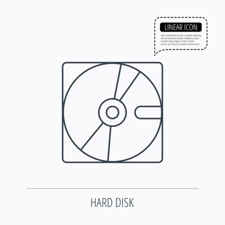 harddrive: Harddisk icon. Hard drive storage sign. Linear outline icon. Speech bubble of dotted line. Vector