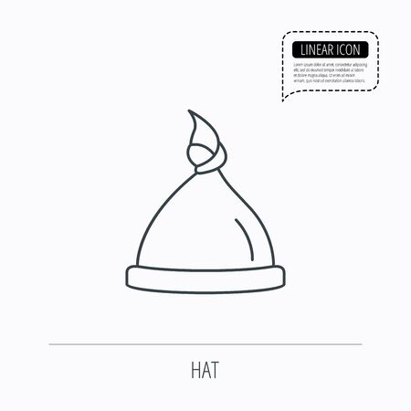 nodule: Baby hat icon. Newborn cap sign. Toddler sleeping clothes symbol. Linear outline icon. Speech bubble of dotted line. Vector