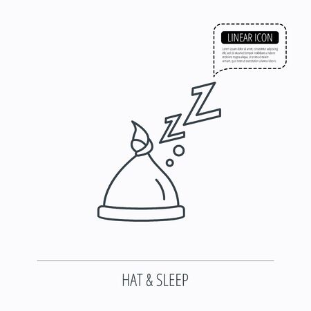 nodule: Baby hat with nodule icon. Newborn cap sign. Toddler sleeping clothes symbol. Linear outline icon. Speech bubble of dotted line. Vector Illustration