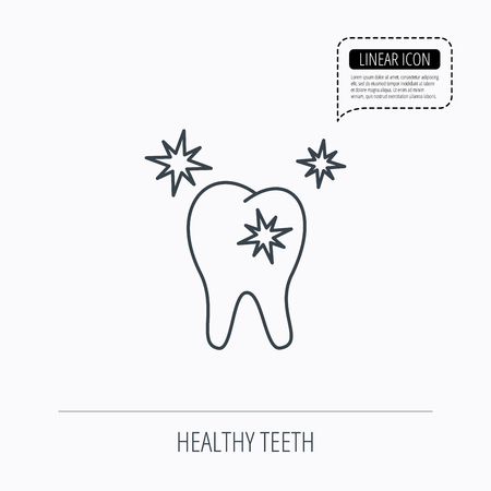 stomatologist: Healthy tooth icon. Dental protection sign. Linear outline icon. Speech bubble of dotted line. Vector