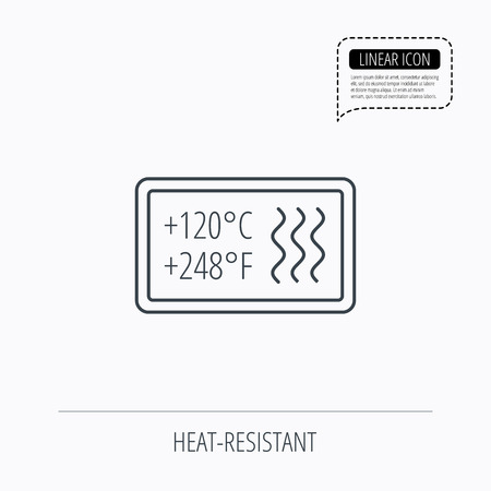 resistant: Heat resistant icon. Microwave or dishwasher information sign. Attention symbol. Linear outline icon. Speech bubble of dotted line. Vector Illustration