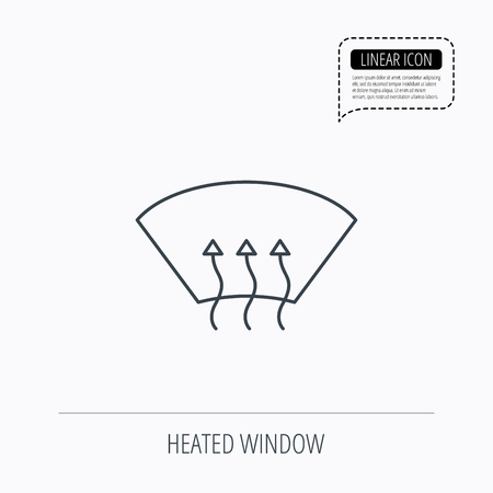 heated: Heated window icon. Windshield arrows sign. Linear outline icon. Speech bubble of dotted line. Vector