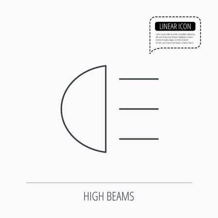 distant: High beams icon. Distant light car sign. Linear outline icon. Speech bubble of dotted line. Vector Illustration