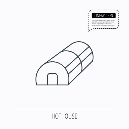 warm house: Greenhouse complex icon. Hothouse building sign. Warm house symbol. Linear outline icon. Speech bubble of dotted line. Vector Illustration
