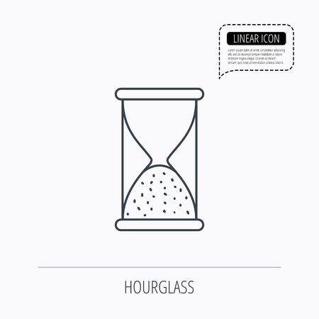 end of time: Hourglass icon. Sand end time sign. Hour ends symbol. Linear outline icon. Speech bubble of dotted line. Vector
