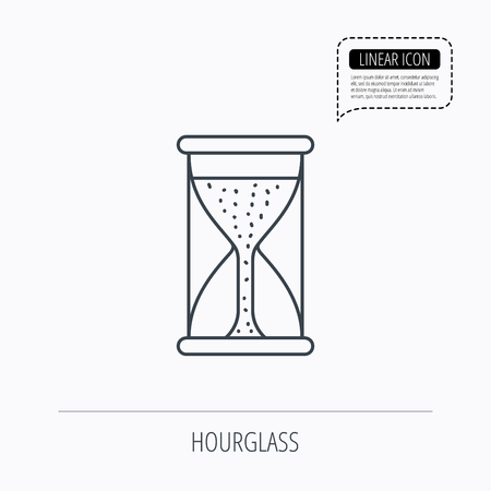 começando: Hourglass icon. Sand time starting sign. Linear outline icon. Speech bubble of dotted line. Vector Ilustração
