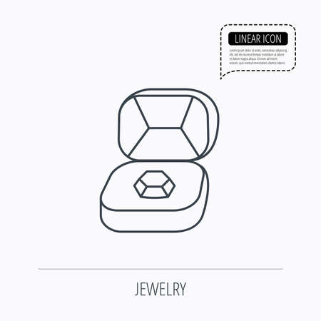 brilliant: Brilliant jewellery icon. Engagement sign. Linear outline icon. Speech bubble of dotted line. Vector Illustration