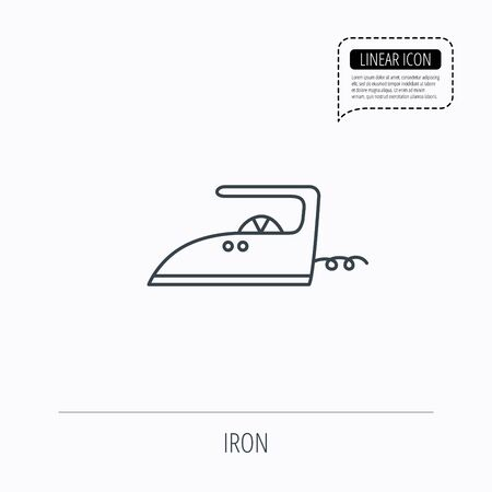laundry line: Iron icon. Ironing housework sign. Laundry service symbol. Linear outline icon. Speech bubble of dotted line. Vector