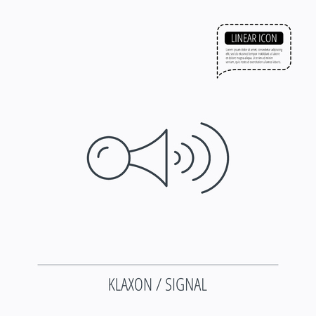 strident: Klaxon signal icon. Car horn sign. Linear outline icon. Speech bubble of dotted line. Vector
