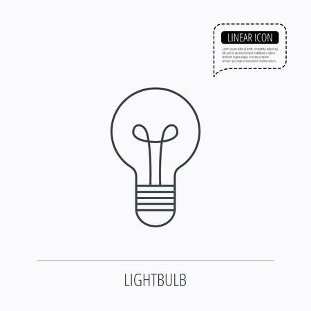lamp outline: Lamp icon. Idea and solution sign. Linear outline icon. Speech bubble of dotted line. Vector