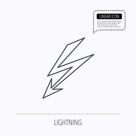 lightening: Lightening bolt icon. Power supply sign. Electricity symbol. Linear outline icon. Speech bubble of dotted line. Vector