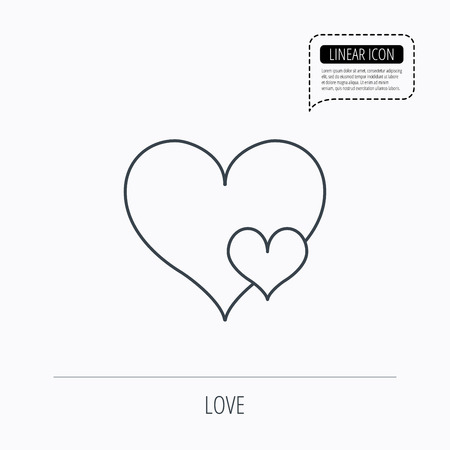 seduce: Love hearts icon. Lovers sign. Couple relationships. Linear outline icon. Speech bubble of dotted line. Vector Illustration