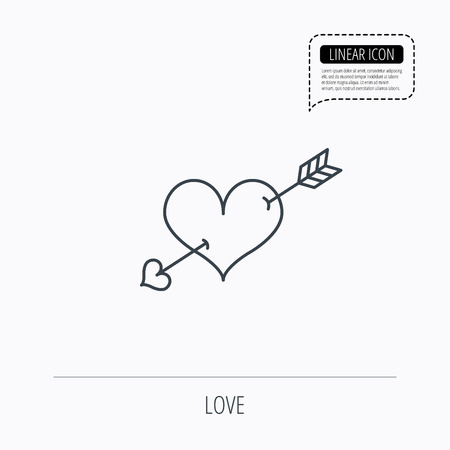 amour: Love heart icon. Amour arrow sign. Linear outline icon. Speech bubble of dotted line. Vector