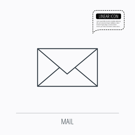 envelope icon: Envelope mail icon. Email message sign. Internet letter symbol. Linear outline icon. Speech bubble of dotted line. Vector