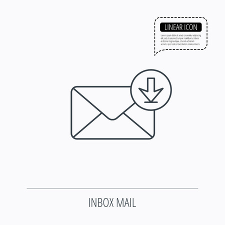 inbox: Mail inbox icon. Email message sign. Download arrow symbol. Linear outline icon. Speech bubble of dotted line. Vector