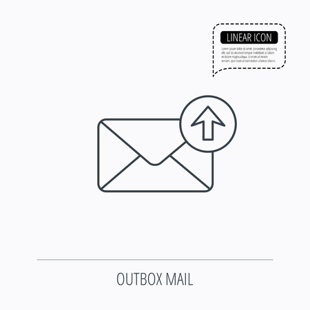 outbox: Mail outbox icon. Email message sign. Upload arrow symbol. Linear outline icon. Speech bubble of dotted line. Vector