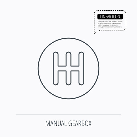 gearbox: Manual gearbox icon. Car transmission sign. Linear outline icon. Speech bubble of dotted line. Vector Illustration