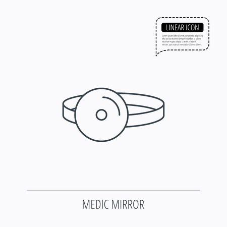 otorhinolaryngology: Medical mirror icon. ORL medicine sign. Otorhinolaryngology diagnosis tool symbol. Linear outline icon. Speech bubble of dotted line. Vector