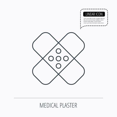 maim: Medical plaster icon. Injury fix sign. Linear outline icon. Speech bubble of dotted line. Vector Illustration