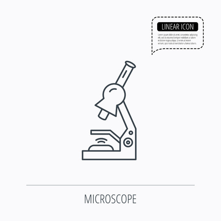 criminology: Microscope icon. Medical laboratory equipment sign. Pathology or scientific symbol. Linear outline icon. Speech bubble of dotted line. Vector