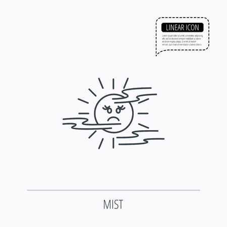 mist: Mist icon. Fog with sun sign. Sunny smile symbol. Linear outline icon. Speech bubble of dotted line. Vector