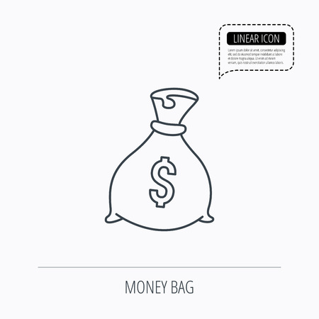 burlap bag: Sack with dollars icon. Money bag sign. Banking symbol. Linear outline icon. Speech bubble of dotted line. Vector
