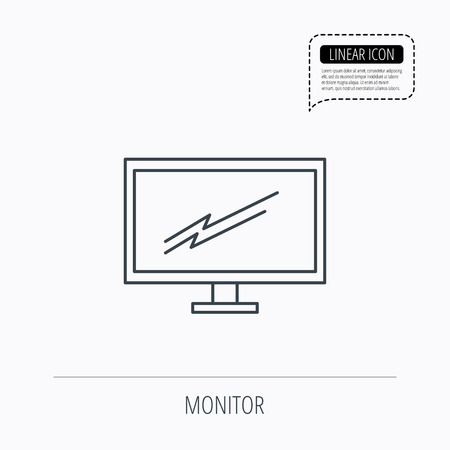 tv led: PC monitor icon. Led TV sign. Widescreen display symbol. Linear outline icon. Speech bubble of dotted line. Vector Illustration