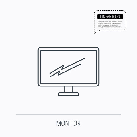 pc monitor: PC monitor icon. Led TV sign. Widescreen display symbol. Linear outline icon. Speech bubble of dotted line. Vector Illustration