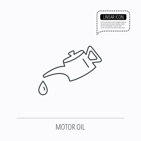 motor oil: Motor oil icon. Fuel can with drop sign. Linear outline icon. Speech bubble of dotted line. Vector