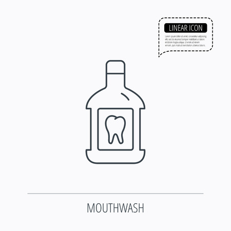 antibacterial: Mouthwash icon. Oral antibacterial liquid sign. Linear outline icon. Speech bubble of dotted line. Vector