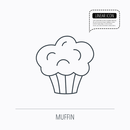 Muffin icon. Cupcake dessert sign. Bakery sweet food symbol. Linear outline icon. Speech bubble of dotted line. Vector