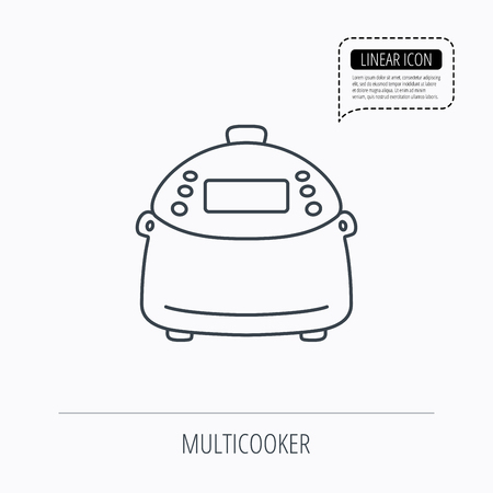 kitchen device: Multicooker icon. Kitchen electric device symbol. Linear outline icon. Speech bubble of dotted line. Vector