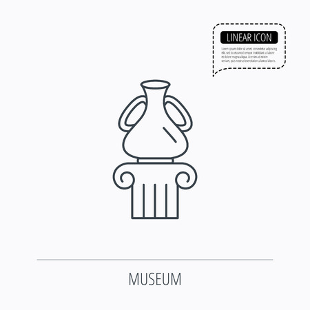 antique vase: Museum icon. Antique vase on pillar sign. Linear outline icon. Speech bubble of dotted line. Vector