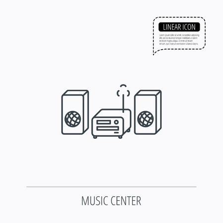 cd recorder: Music center icon. Stereo system sign. Linear outline icon. Speech bubble of dotted line. Vector