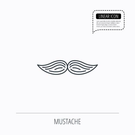 gent: Mustache icon. Hipster symbol. Gentleman sign. Linear outline icon. Speech bubble of dotted line. Vector