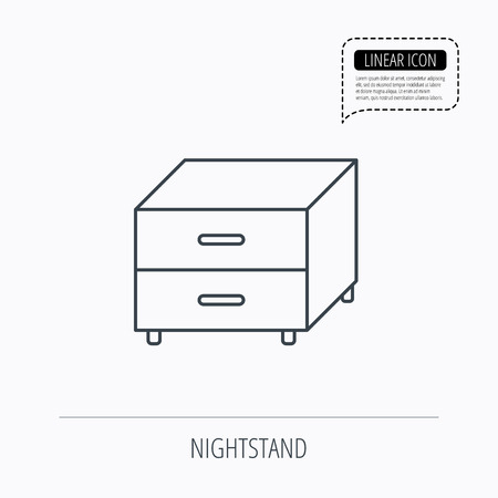 bedside: Nightstand icon. Bedroom furniture sign. Linear outline icon. Speech bubble of dotted line. Vector