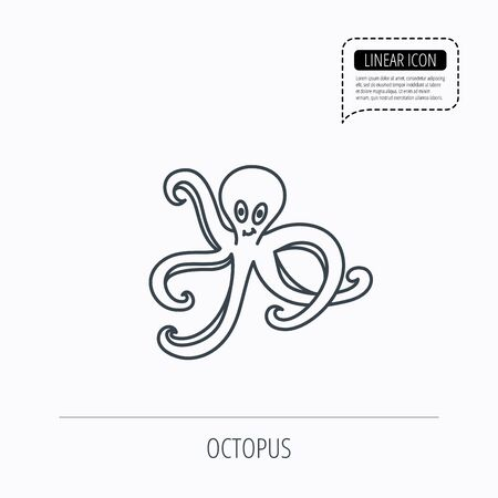 devilfish: Octopus icon. Ocean devilfish sign. Linear outline icon. Speech bubble of dotted line. Vector