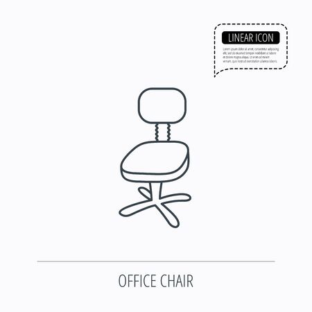 ergonomic: Office chair icon. Business armchair sign. Linear outline icon. Speech bubble of dotted line. Vector Illustration
