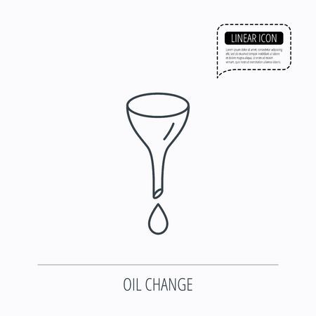 oil change: Oil change service icon. Fuel can with drop sign. Linear outline icon. Speech bubble of dotted line. Vector