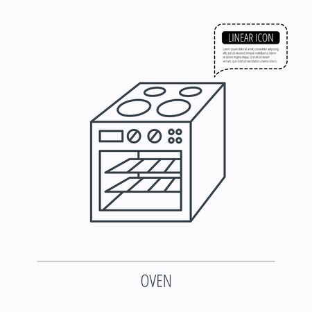 electric stove: Oven icon. Electric stove sign. Linear outline icon. Speech bubble of dotted line. Vector Illustration