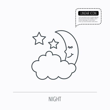 moonbeam: Night or sleep icon. Moon and stars sign. Crescent astronomy symbol. Linear outline icon. Speech bubble of dotted line. Vector