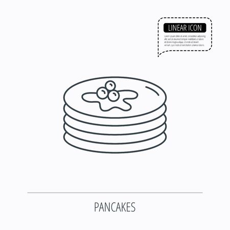 Pancakes icon. American breakfast sign. Food with maple syrup symbol. Linear outline icon. Speech bubble of dotted line. Vector