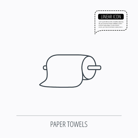 household goods: Paper towels icon. Kitchen hygiene sign. Linear outline icon. Speech bubble of dotted line. Vector