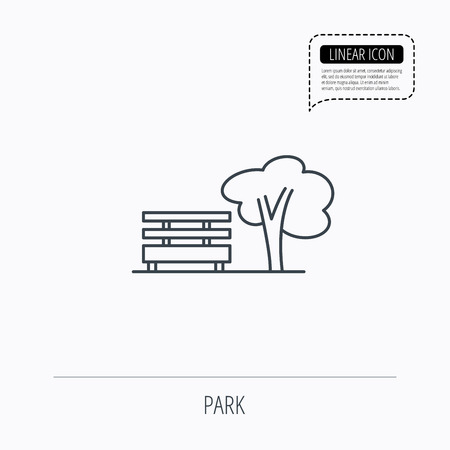 tree line: Public park icon. Tree with bench sign. Linear outline icon. Speech bubble of dotted line. Vector