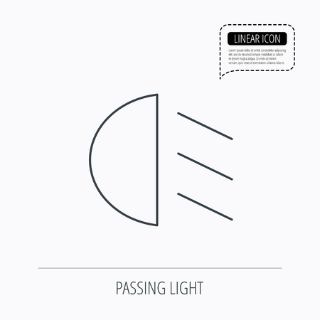 dipped: Passing light icon. Dipped beam sign. Linear outline icon. Speech bubble of dotted line. Vector Illustration