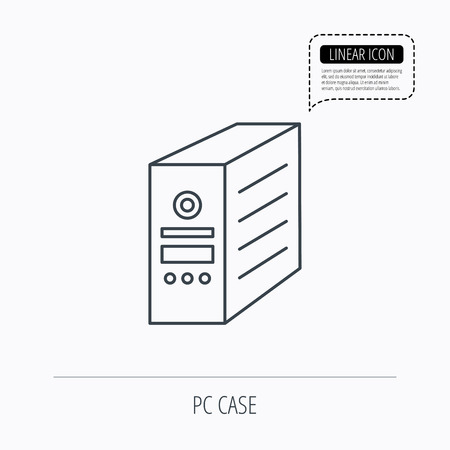 pc case: Computer server icon. PC case or tower sign. Linear outline icon. Speech bubble of dotted line. Vector Illustration