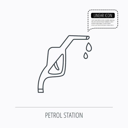 nozzle: Gasoline pump nozzle icon. Gas or Petrol station sign. Linear outline icon. Speech bubble of dotted line. Vector