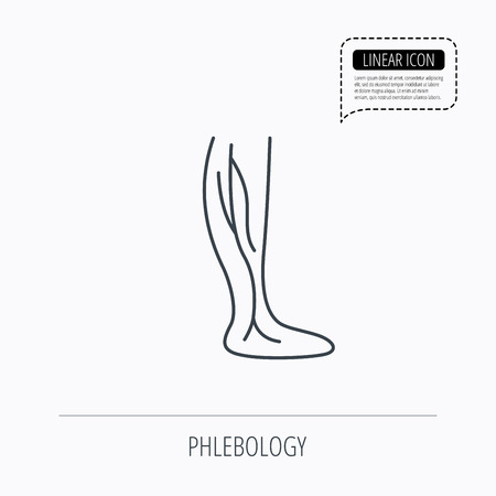 varicose veins: Phlebology icon. Leg veins sign. Varicose or thrombosis symbol. Linear outline icon. Speech bubble of dotted line. Vector