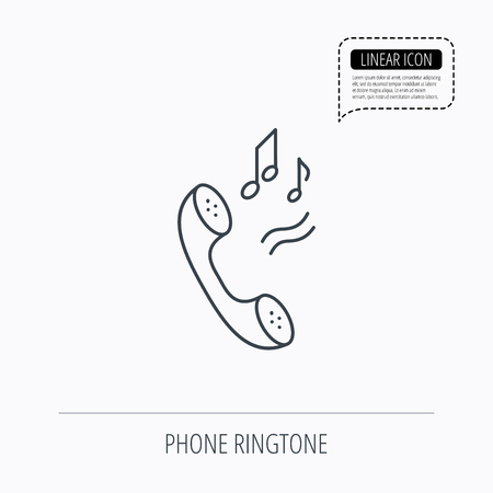 ringtone: Phone icon. Call ringtone sign. Linear outline icon. Speech bubble of dotted line. Vector Illustration
